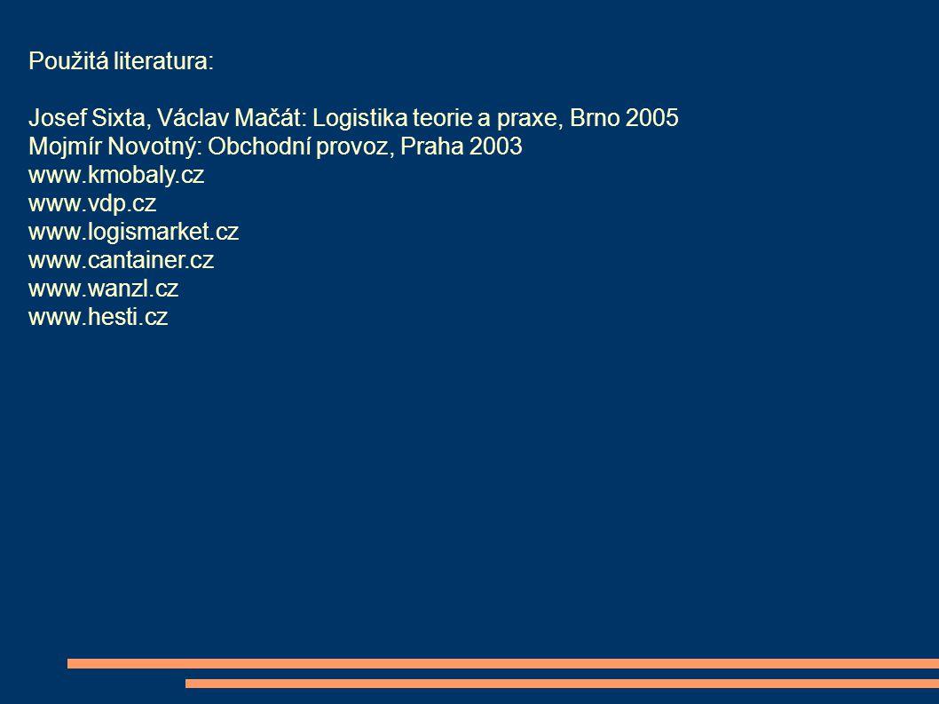 Použitá literatura: Josef Sixta, Václav Mačát: Logistika teorie a praxe, Brno 2005. Mojmír Novotný: Obchodní provoz, Praha 2003.