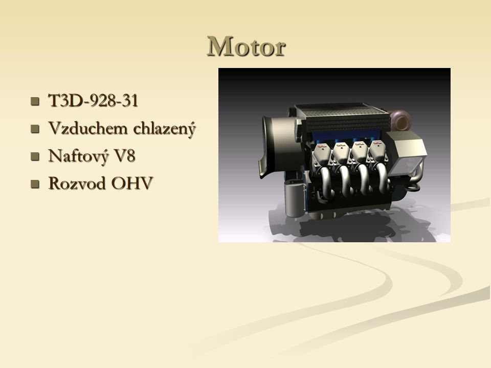 Motor T3D-928-31 Vzduchem chlazený Naftový V8 Rozvod OHV