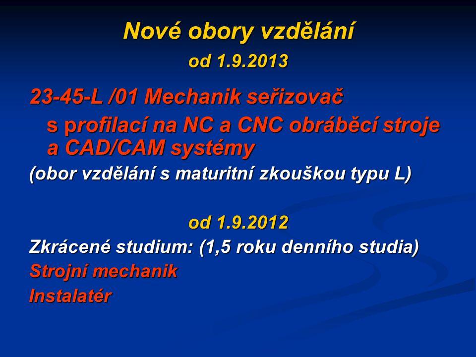 Nové obory vzdělání od 1.9.2013 23-45-L /01 Mechanik seřizovač