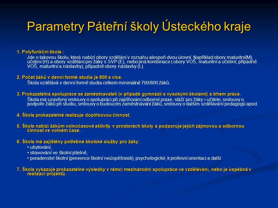 Parametry Páteřní školy Ústeckého kraje