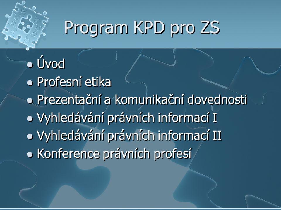 Program KPD pro ZS Úvod Profesní etika