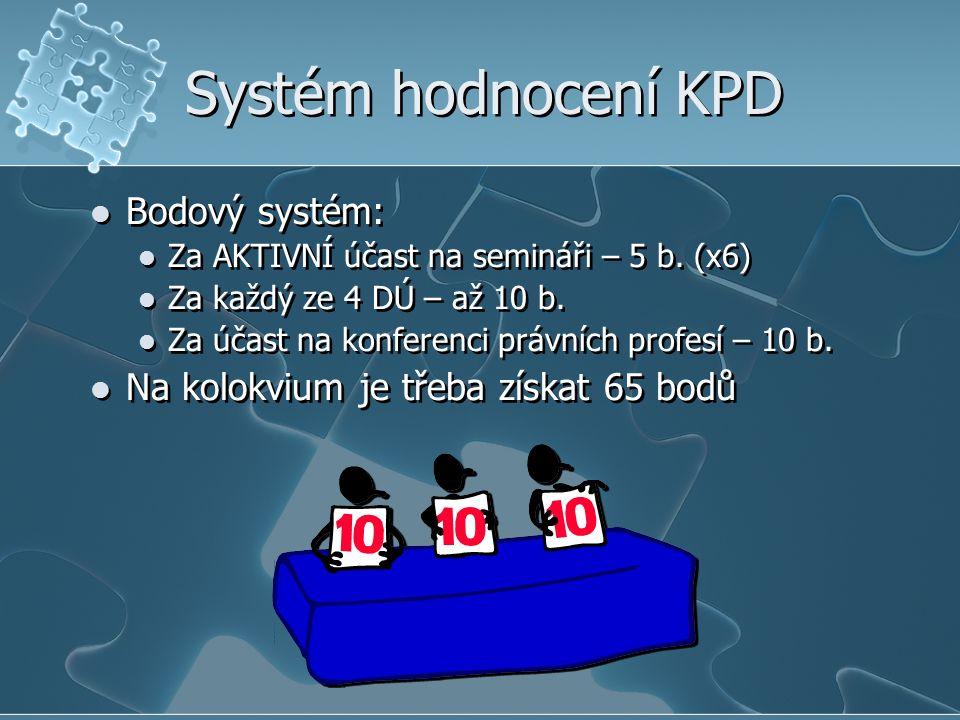 Systém hodnocení KPD Bodový systém: