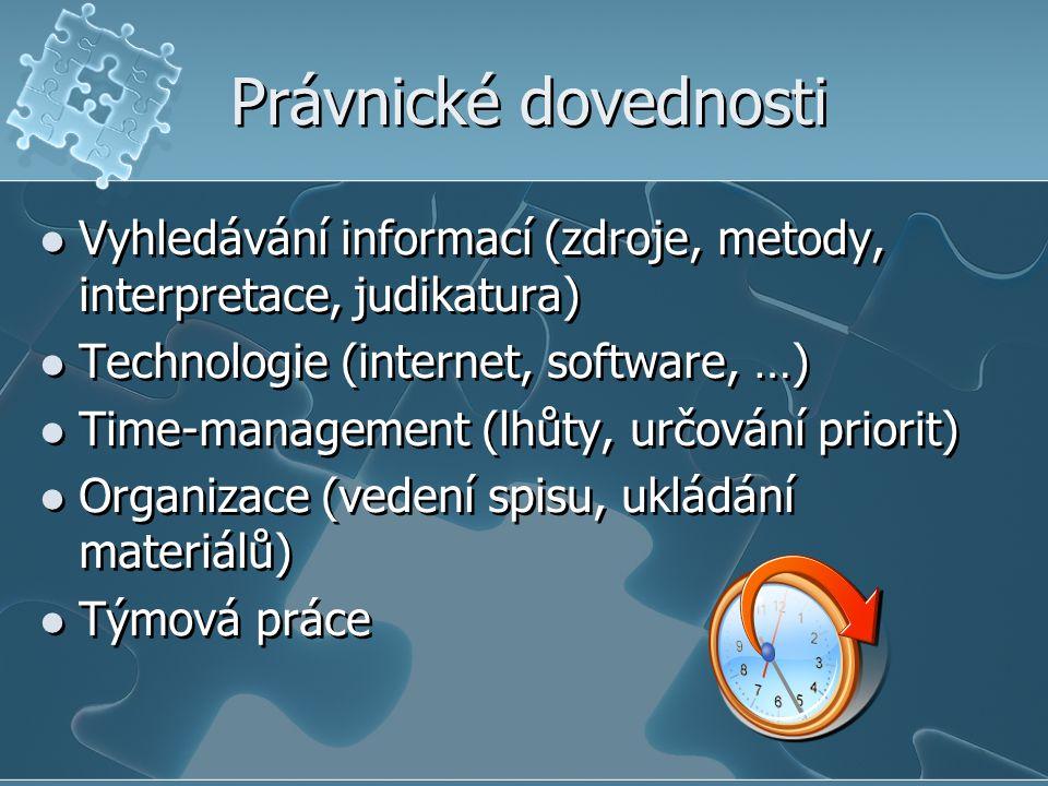 Právnické dovednosti Vyhledávání informací (zdroje, metody, interpretace, judikatura) Technologie (internet, software, …)