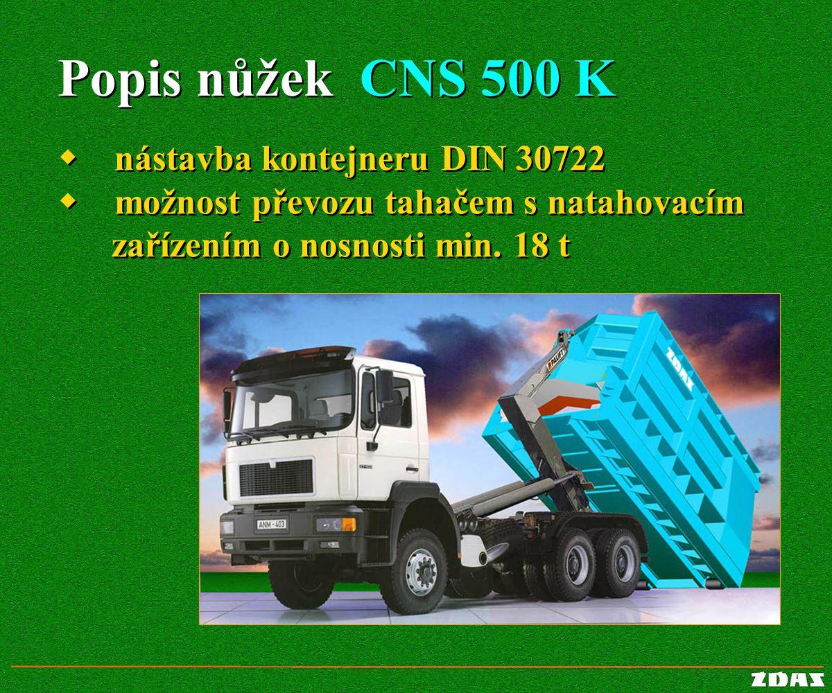 Popis nůžek CNS 500 K w nástavba kontejneru DIN 30722