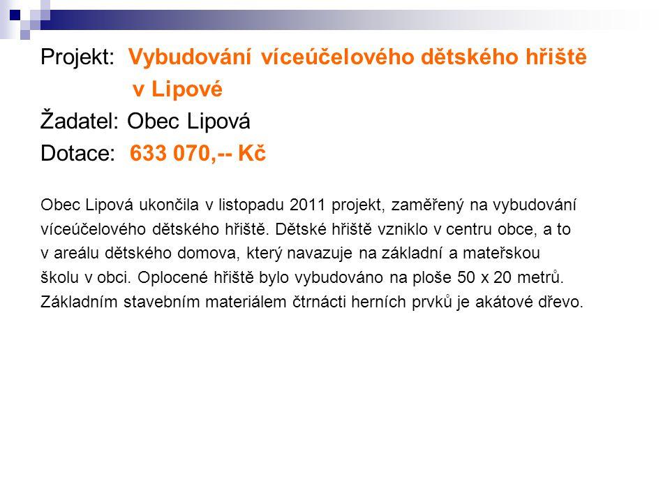 Projekt: Vybudování víceúčelového dětského hřiště v Lipové