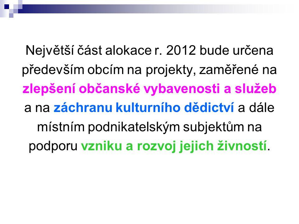 Největší část alokace r. 2012 bude určena