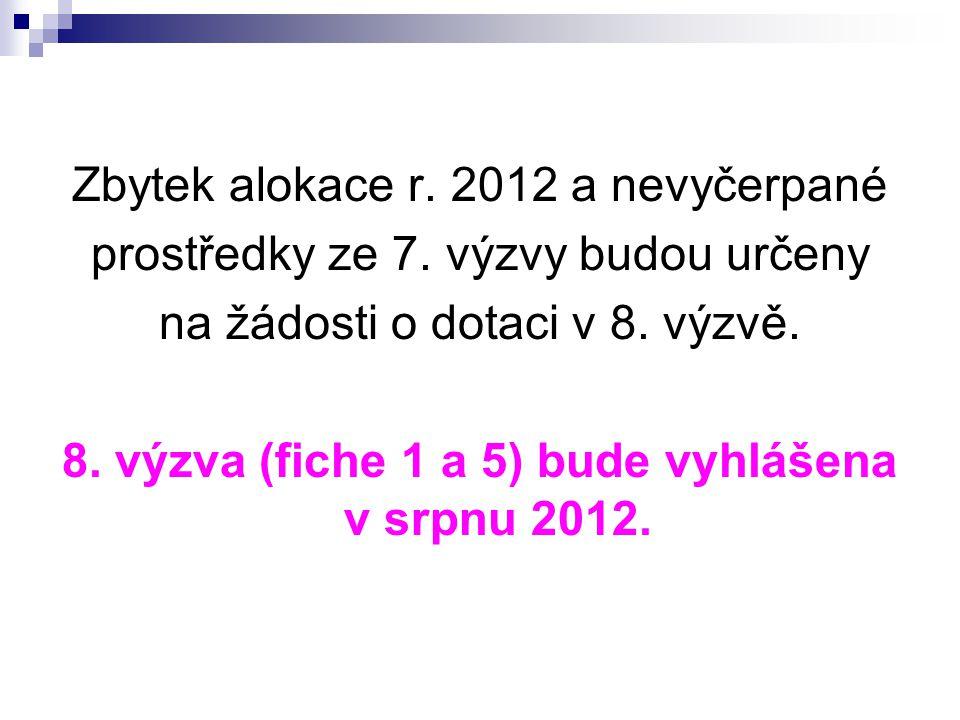 8. výzva (fiche 1 a 5) bude vyhlášena v srpnu 2012.