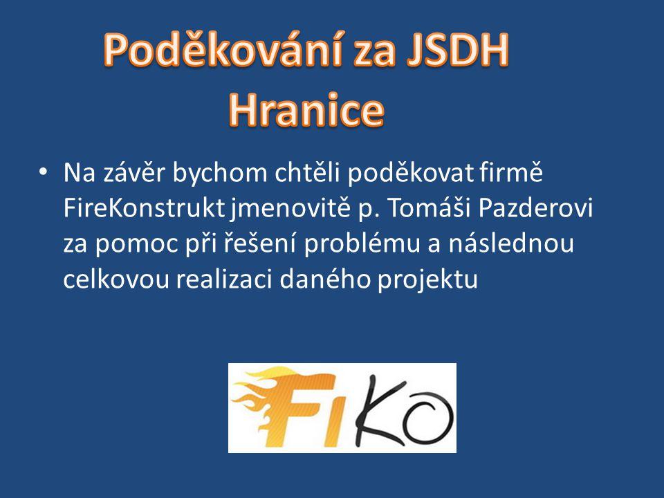 Poděkování za JSDH Hranice