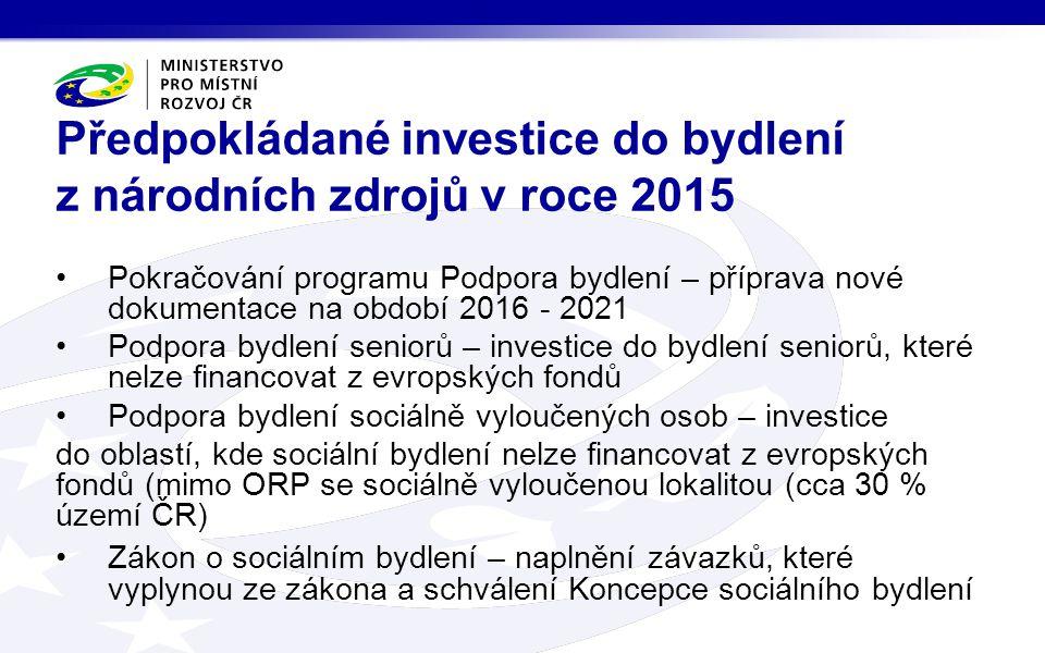 Předpokládané investice do bydlení z národních zdrojů v roce 2015