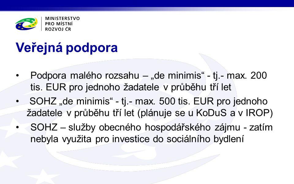 """Veřejná podpora Podpora malého rozsahu – """"de minimis - tj.- max. 200 tis. EUR pro jednoho žadatele v průběhu tří let."""