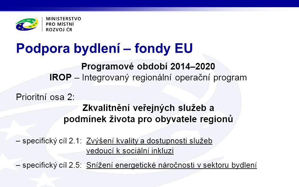 Podpora bydlení – fondy EU