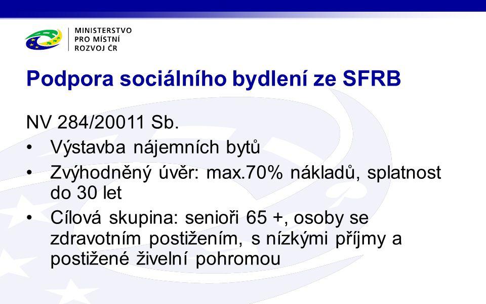 Podpora sociálního bydlení ze SFRB