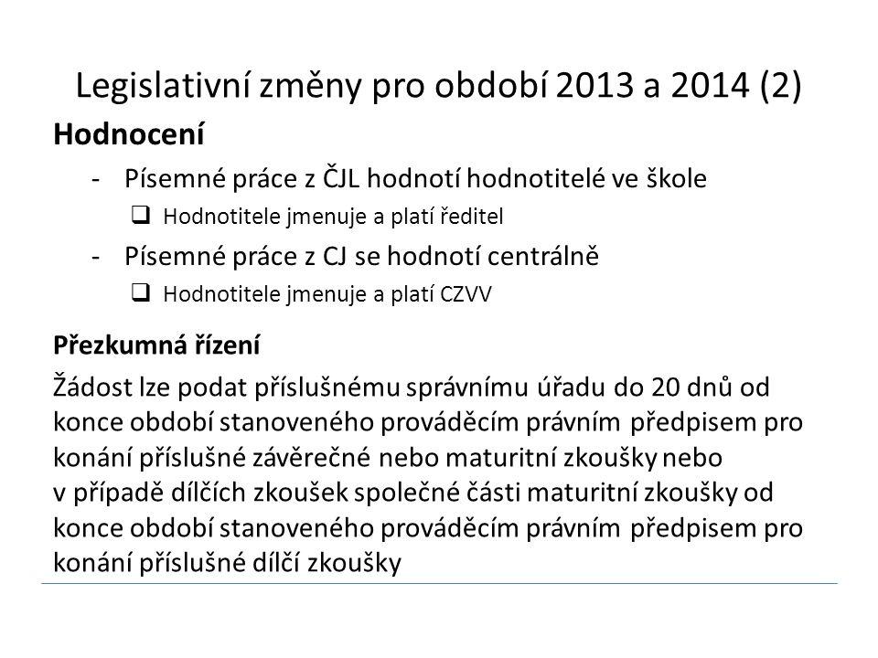 Legislativní změny pro období 2013 a 2014 (2)