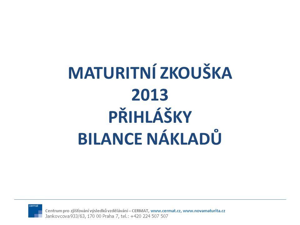 MATURITNÍ ZKOUŠKA 2013 PŘIHLÁŠKY BILANCE NÁKLADŮ