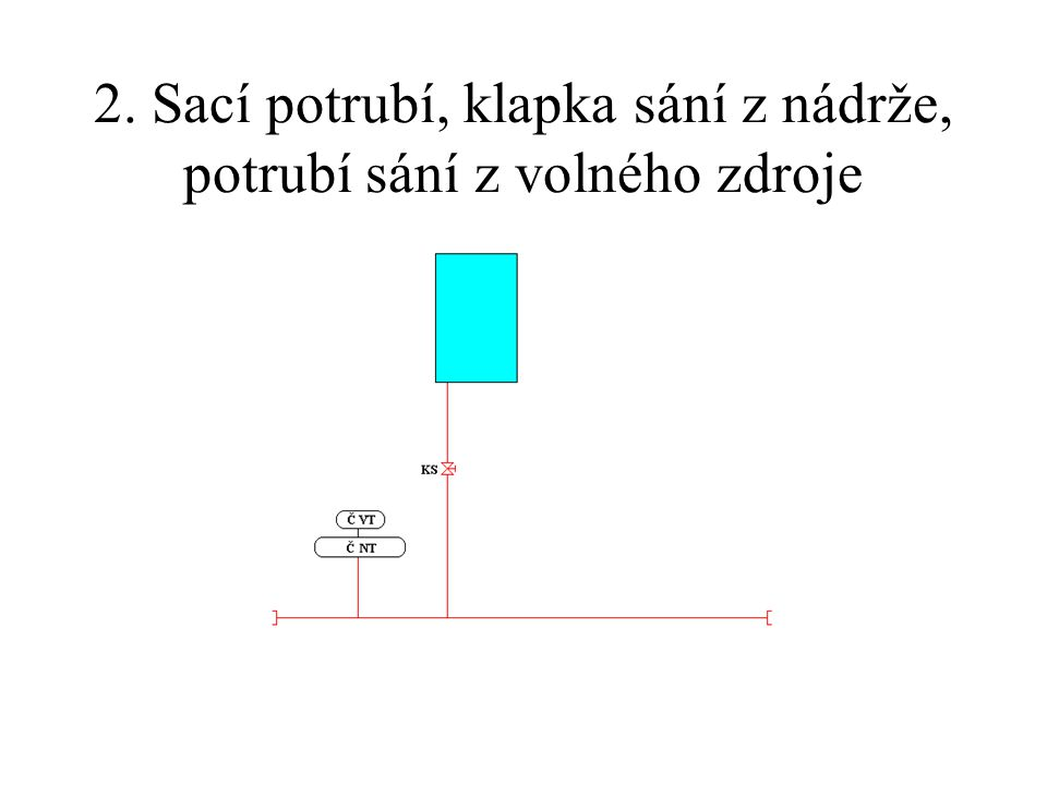 2. Sací potrubí, klapka sání z nádrže, potrubí sání z volného zdroje