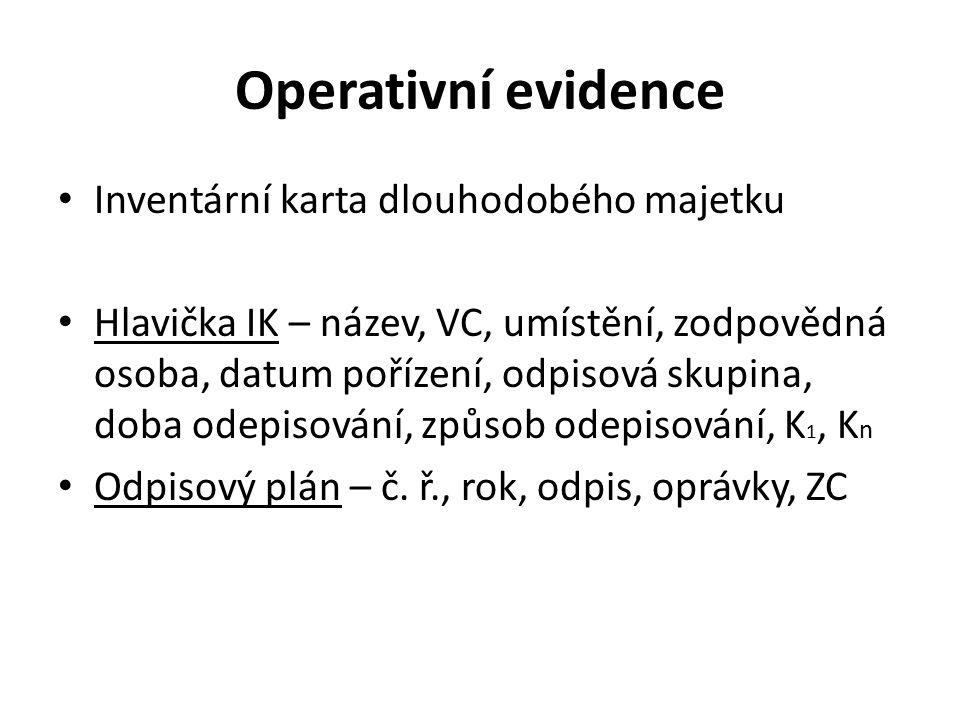 Operativní evidence Inventární karta dlouhodobého majetku