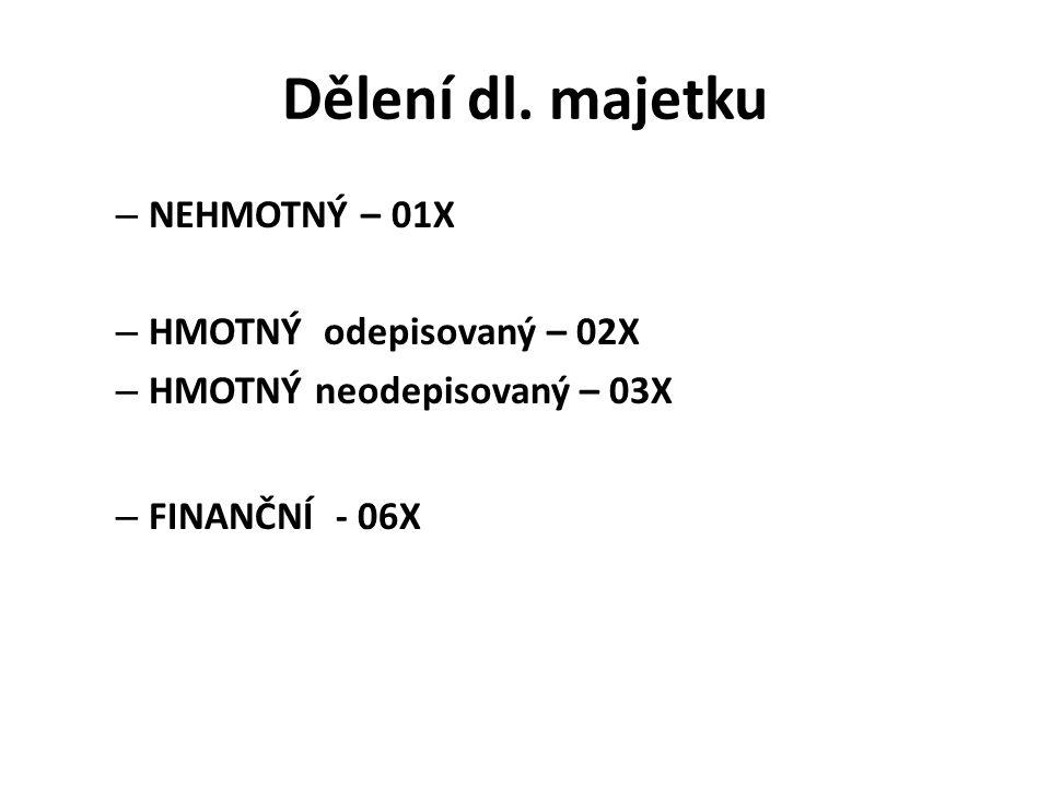 Dělení dl. majetku NEHMOTNÝ – 01X HMOTNÝ odepisovaný – 02X