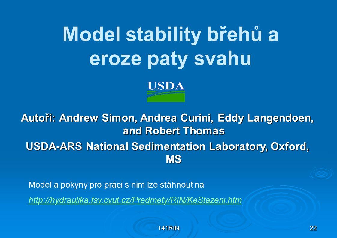 Model stability břehů a eroze paty svahu