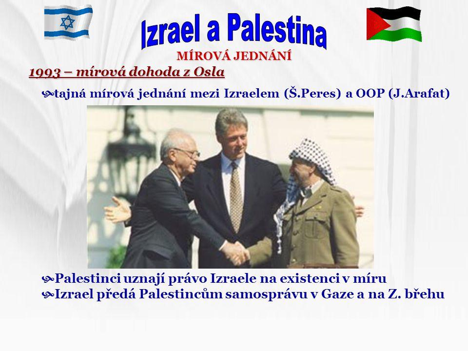 Izrael a Palestina 1993 – mírová dohoda z Osla