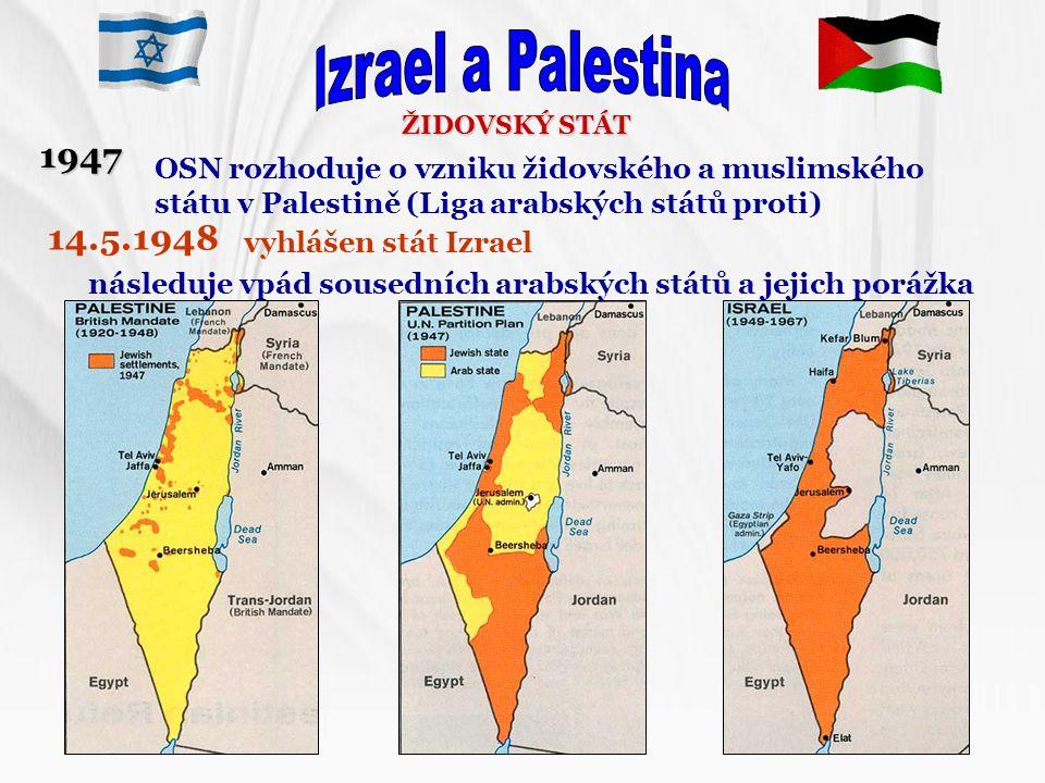 Izrael a Palestina ŽIDOVSKÝ STÁT. 1947. OSN rozhoduje o vzniku židovského a muslimského státu v Palestině (Liga arabských států proti)