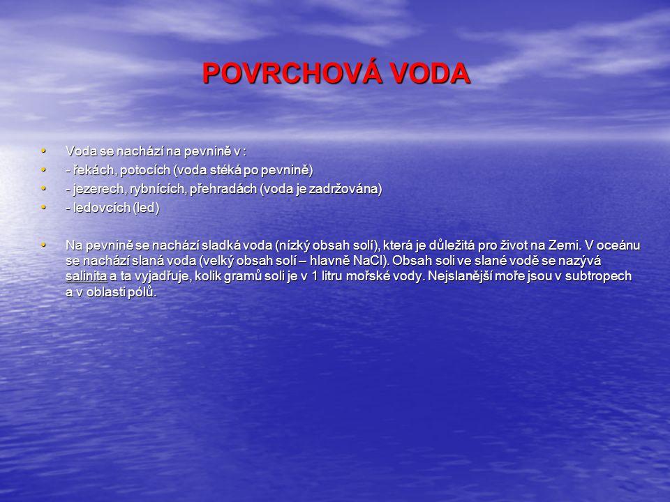 POVRCHOVÁ VODA Voda se nachází na pevnině v :