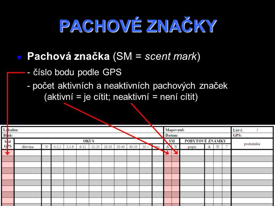 PACHOVÉ ZNAČKY Pachová značka (SM = scent mark) - číslo bodu podle GPS