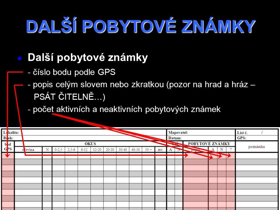 DALŠÍ POBYTOVÉ ZNÁMKY Další pobytové známky - číslo bodu podle GPS