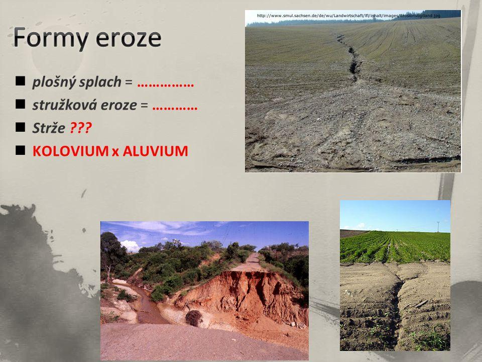 Formy eroze plošný splach = …………… stružková eroze = ………… Strže