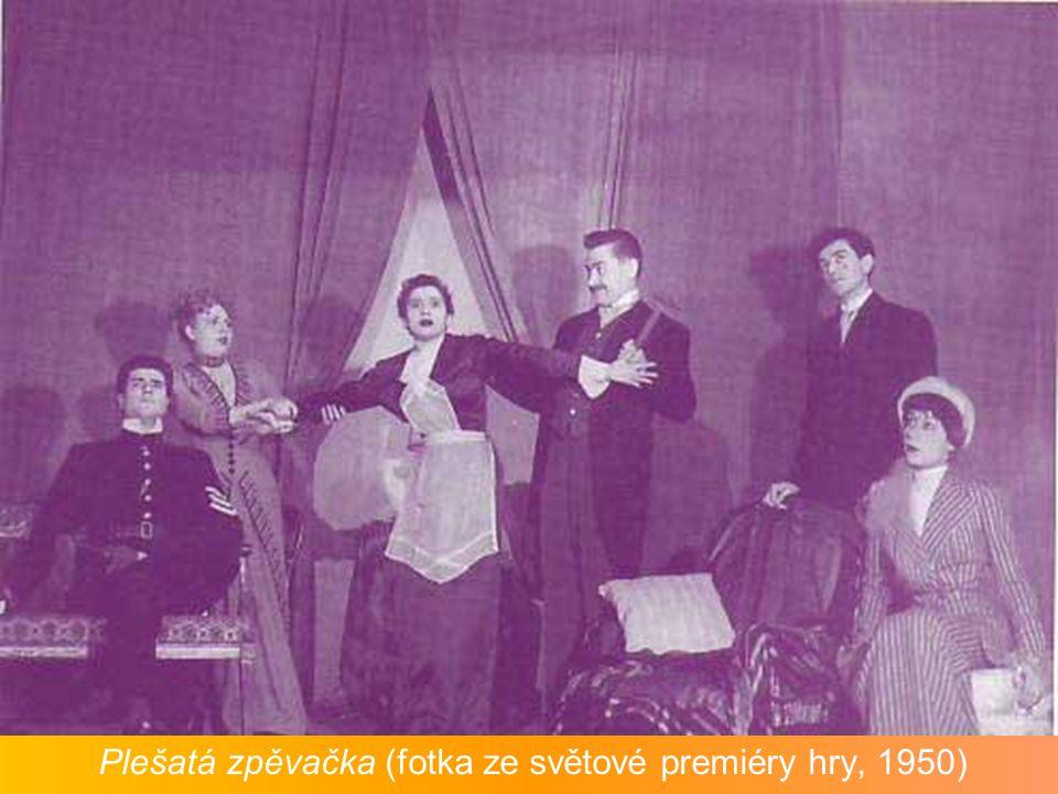 Plešatá zpěvačka (fotka ze světové premiéry hry, 1950)