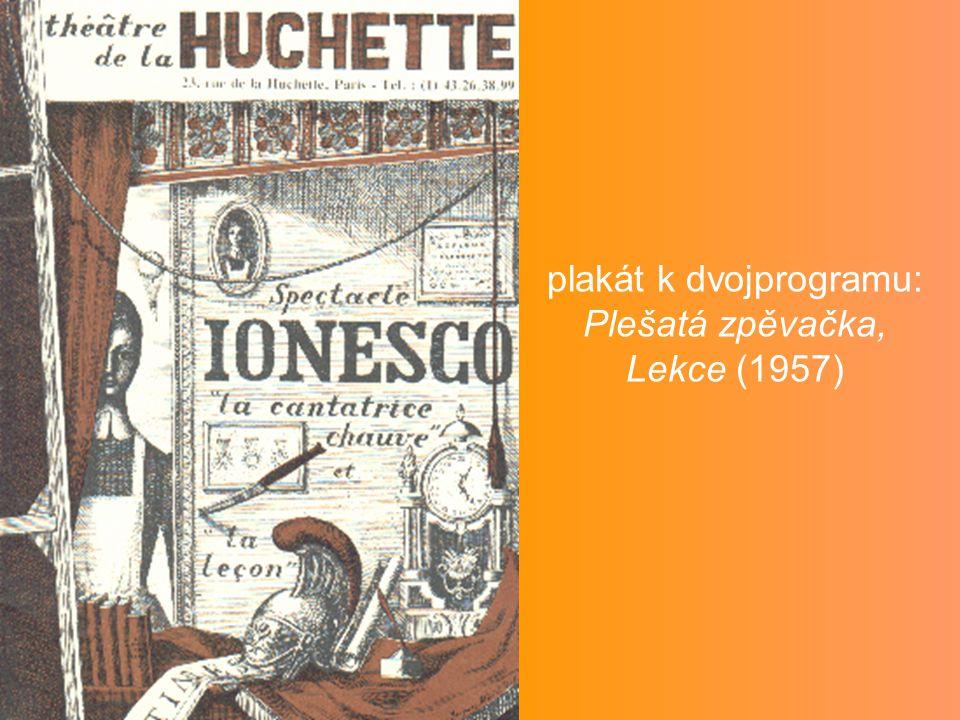 plakát k dvojprogramu: Plešatá zpěvačka, Lekce (1957)