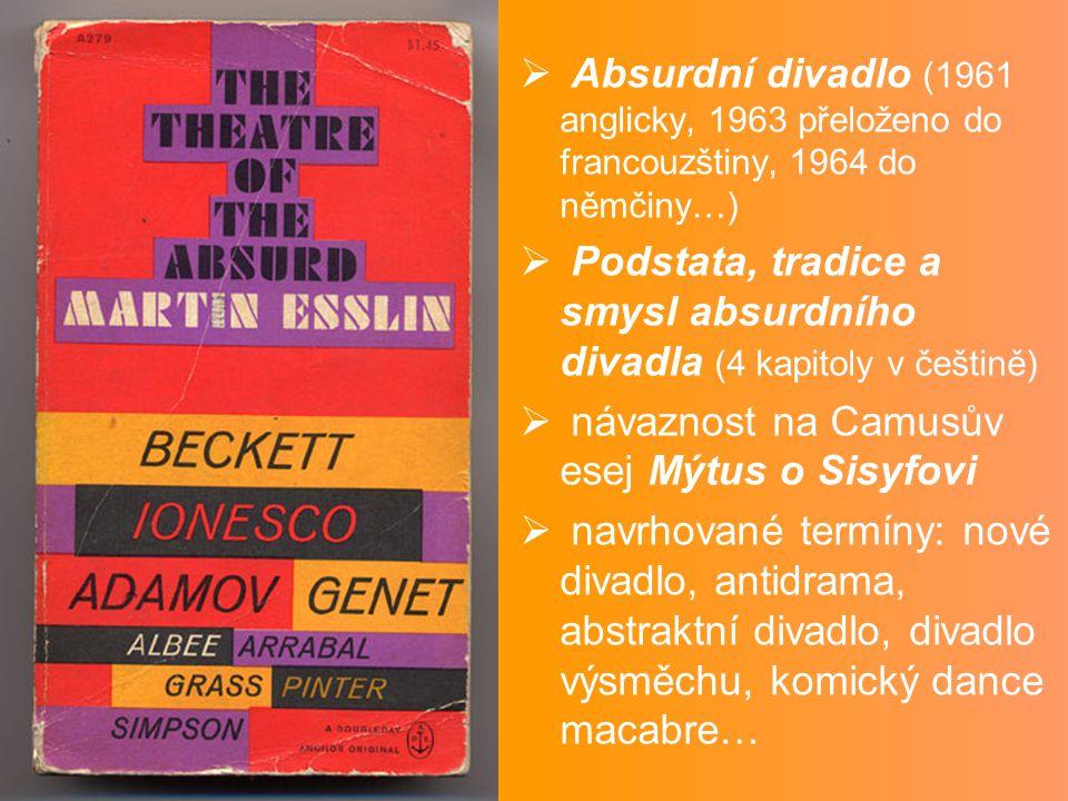 Absurdní divadlo (1961 anglicky, 1963 přeloženo do francouzštiny, 1964 do němčiny…)