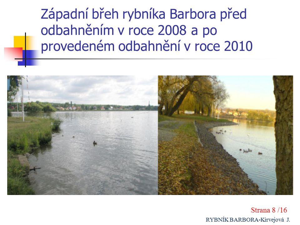 Západní břeh rybníka Barbora před odbahněním v roce 2008 a po provedeném odbahnění v roce 2010