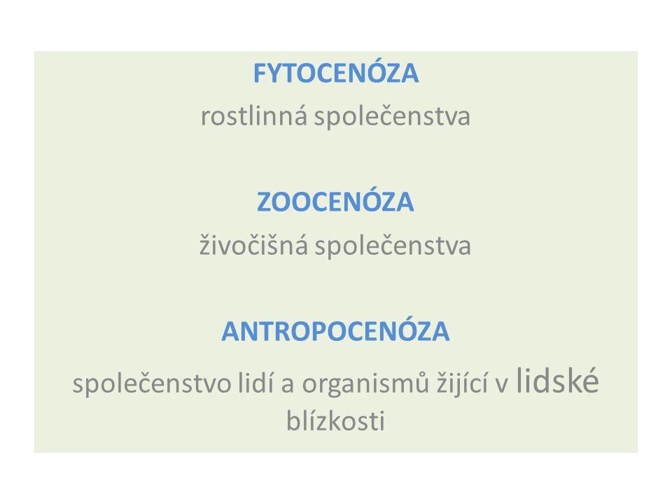 rostlinná společenstva ZOOCENÓZA živočišná společenstva ANTROPOCENÓZA