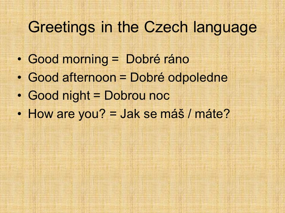 Greetings in the Czech language