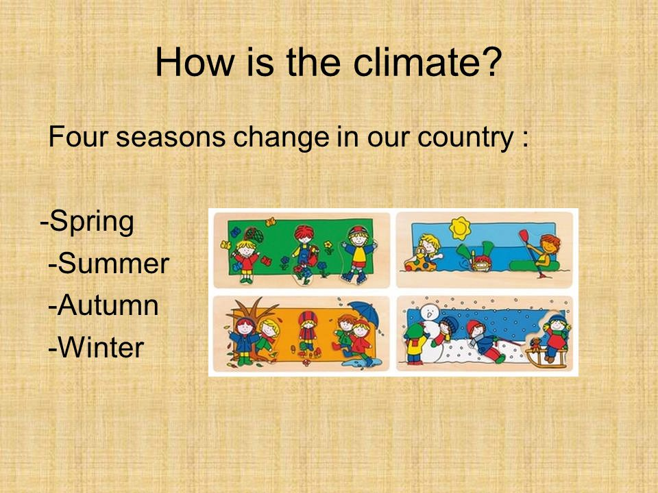 How is the climate Four seasons change in our country : -Spring