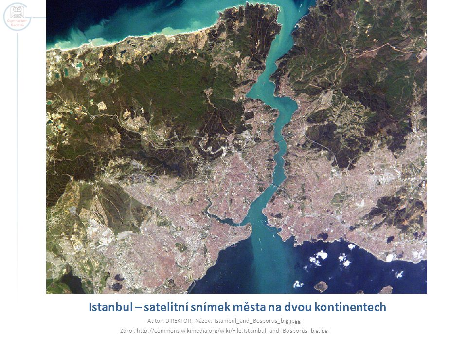 Istanbul – satelitní snímek města na dvou kontinentech