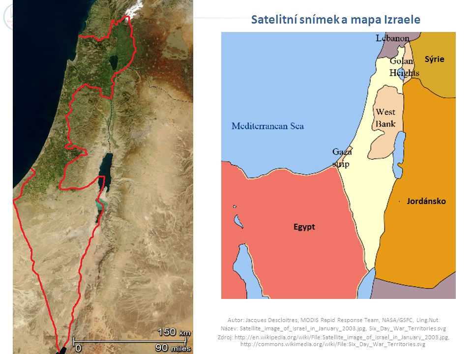 Satelitní snímek a mapa Izraele