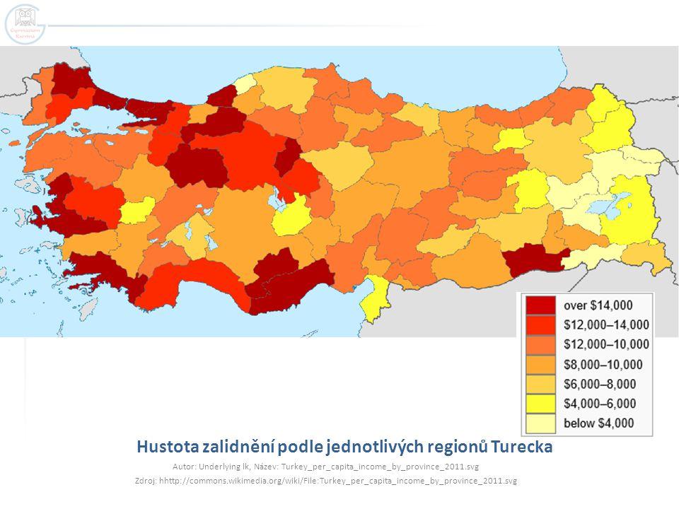 Hustota zalidnění podle jednotlivých regionů Turecka