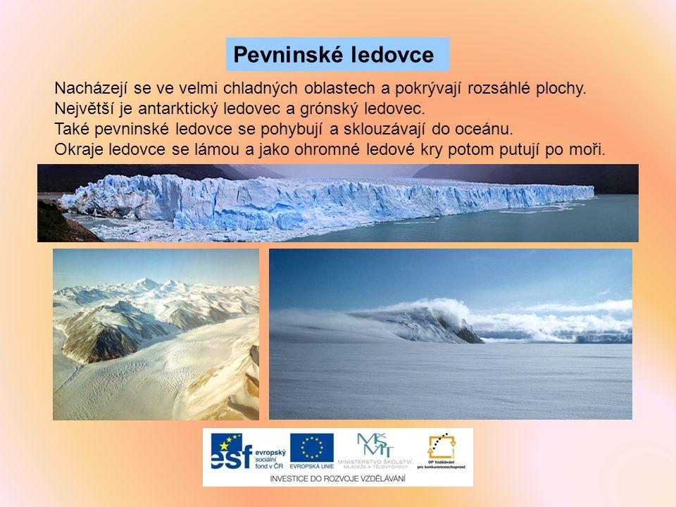 Pevninské ledovce Nacházejí se ve velmi chladných oblastech a pokrývají rozsáhlé plochy. Největší je antarktický ledovec a grónský ledovec.