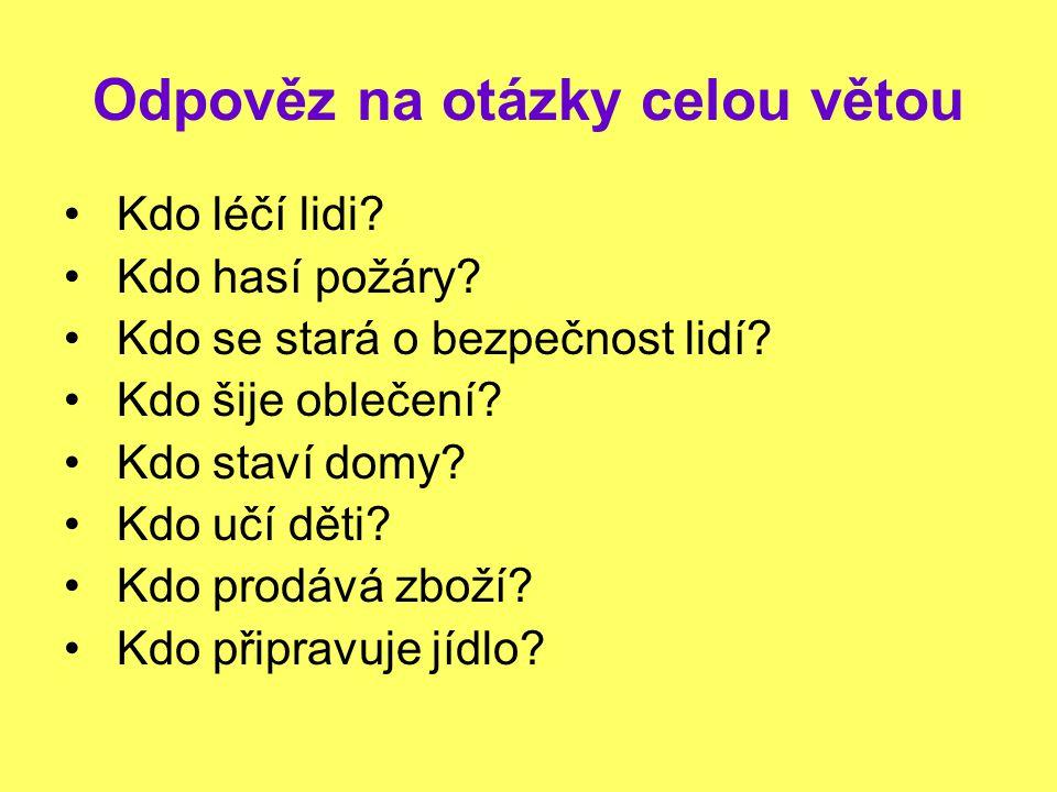 Odpověz na otázky celou větou