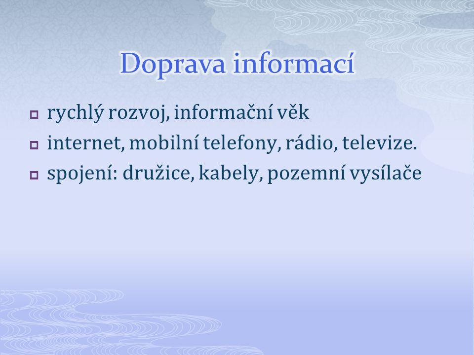 Doprava informací rychlý rozvoj, informační věk