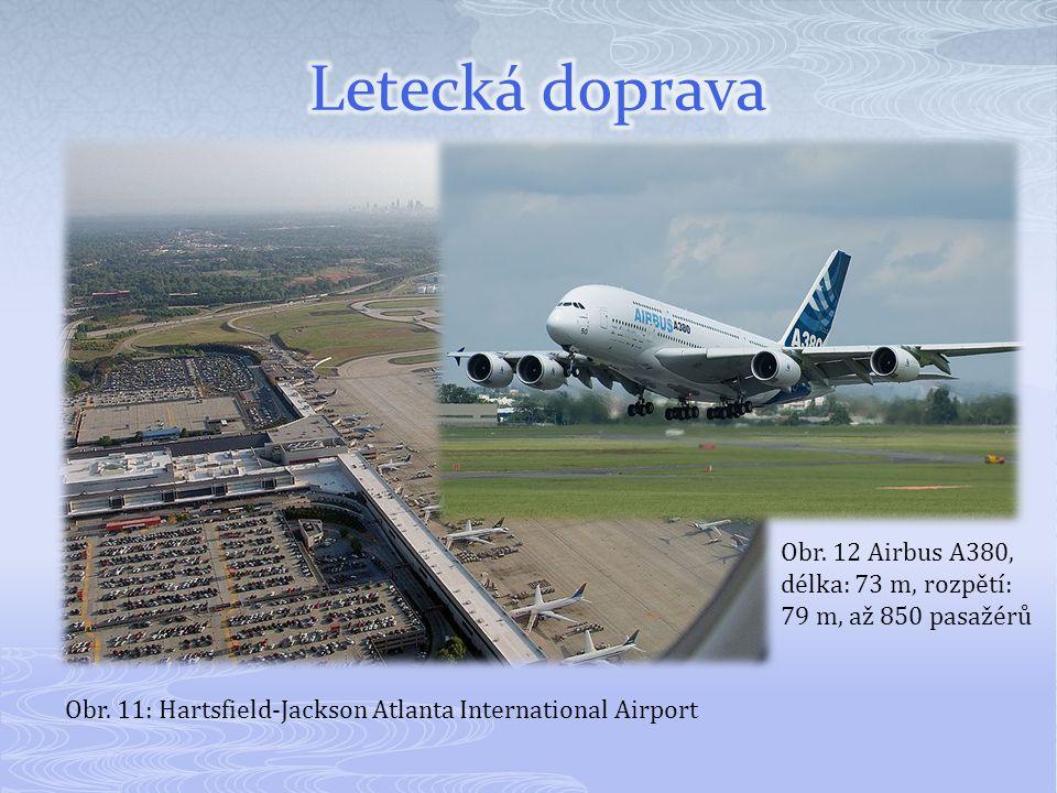 Letecká doprava Obr. 12 Airbus A380, délka: 73 m, rozpětí: 79 m, až 850 pasažérů.