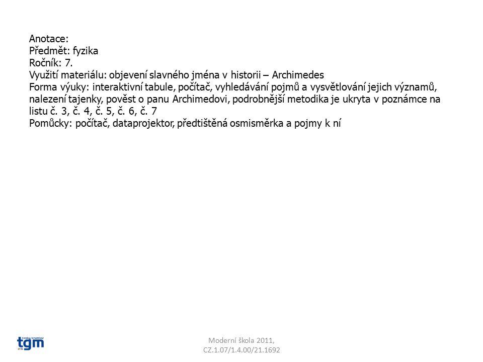 Anotace: Předmět: fyzika Ročník: 7