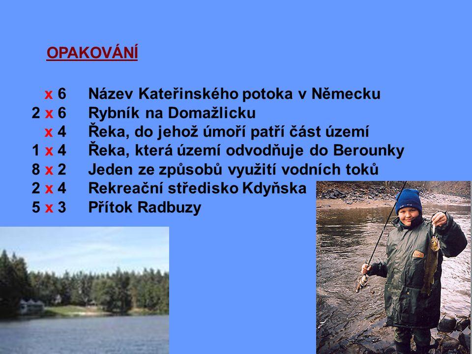 OPAKOVÁNÍ x 6 Název Kateřinského potoka v Německu. 2 x 6 Rybník na Domažlicku. x 4 Řeka, do jehož úmoří patří část území.