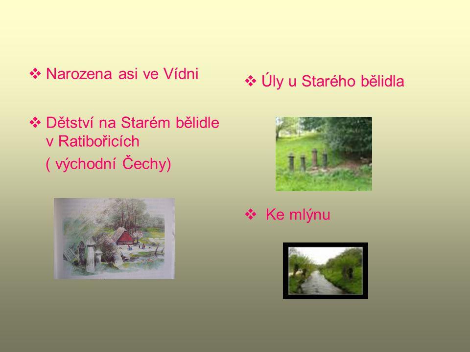 Narozena asi ve Vídni Dětství na Starém bělidle v Ratibořicích. ( východní Čechy) Úly u Starého bělidla.