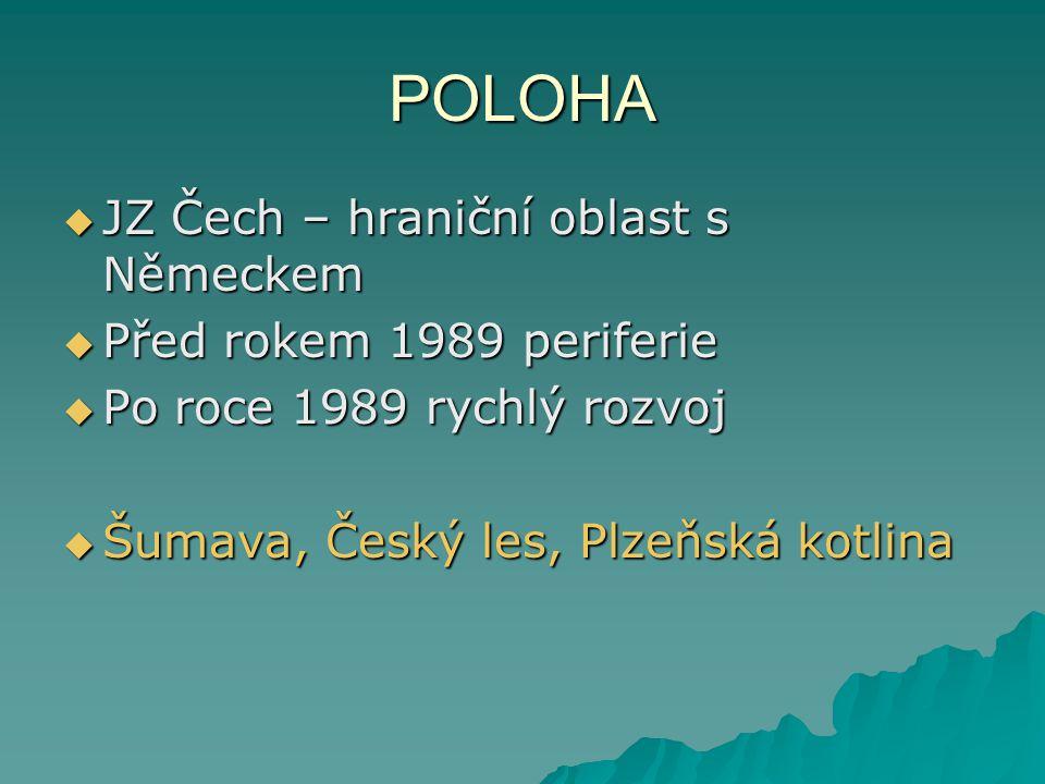 POLOHA JZ Čech – hraniční oblast s Německem Před rokem 1989 periferie