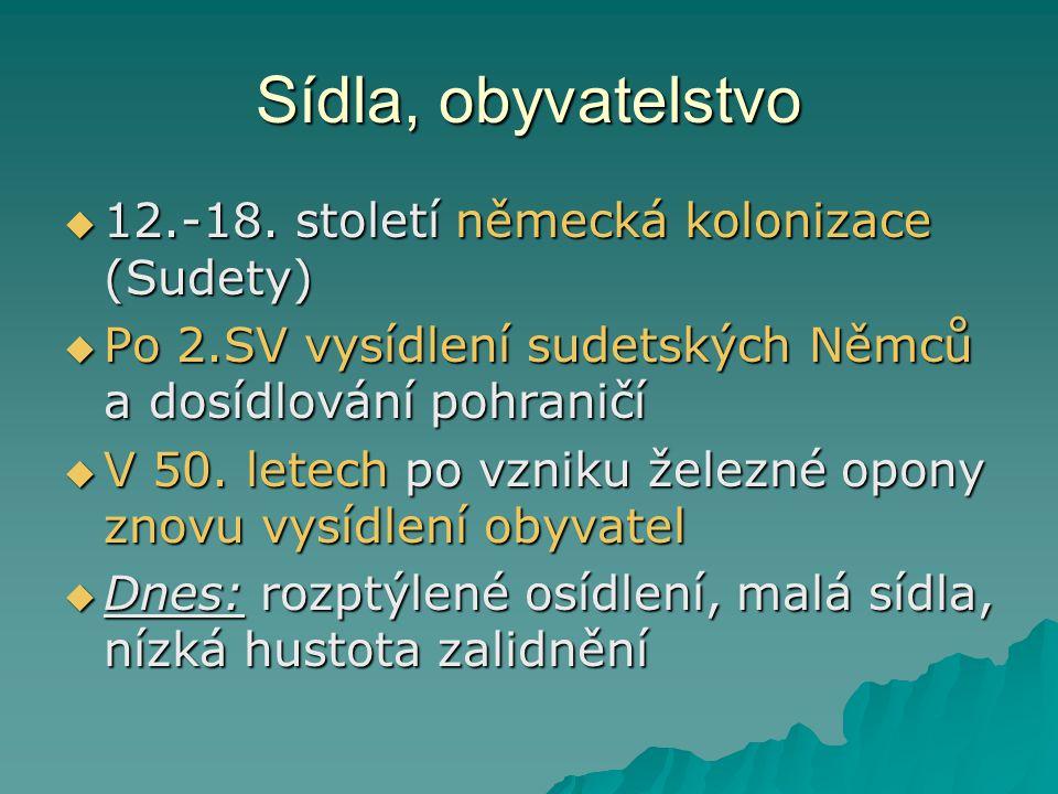 Sídla, obyvatelstvo 12.-18. století německá kolonizace (Sudety)