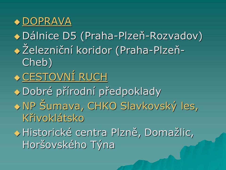 DOPRAVA Dálnice D5 (Praha-Plzeň-Rozvadov) Železniční koridor (Praha-Plzeň-Cheb) CESTOVNÍ RUCH. Dobré přírodní předpoklady.