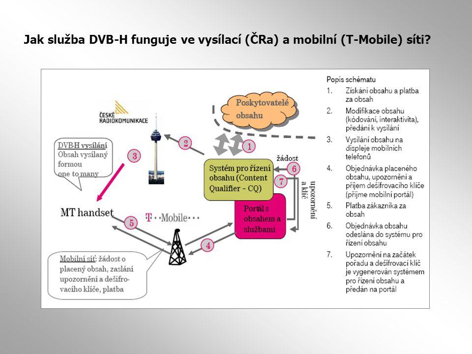 Jak služba DVB-H funguje ve vysílací (ČRa) a mobilní (T-Mobile) síti