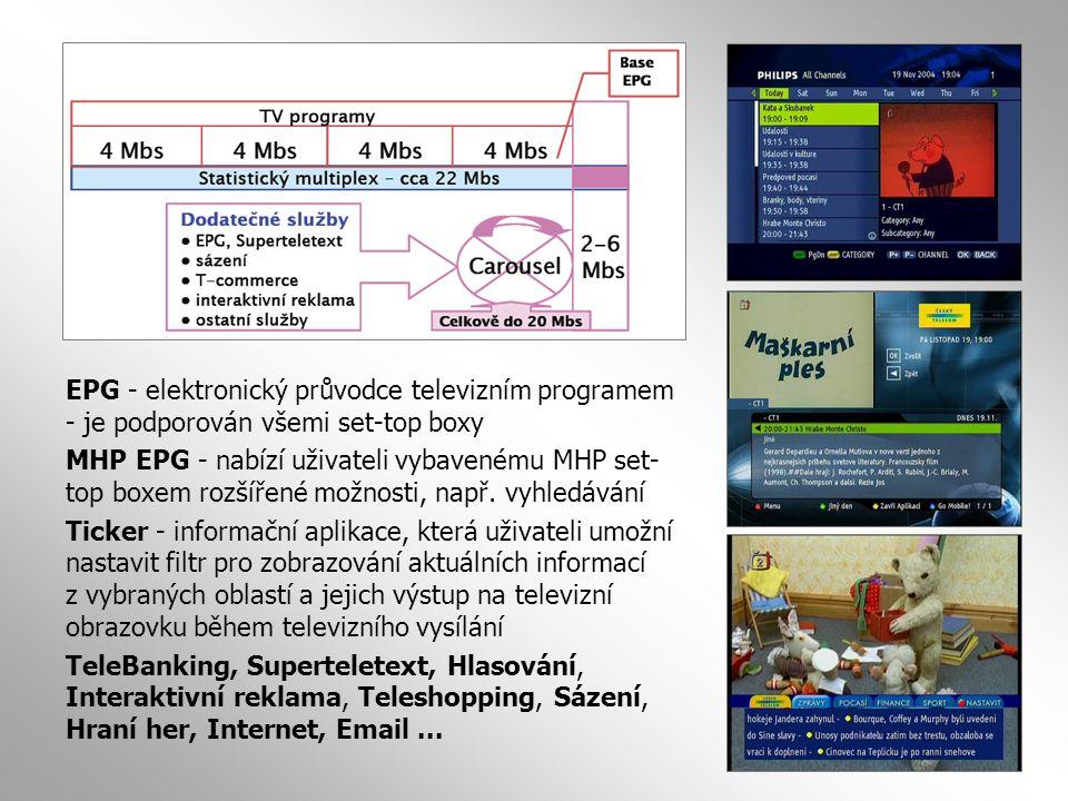 EPG - elektronický průvodce televizním programem - je podporován všemi set-top boxy